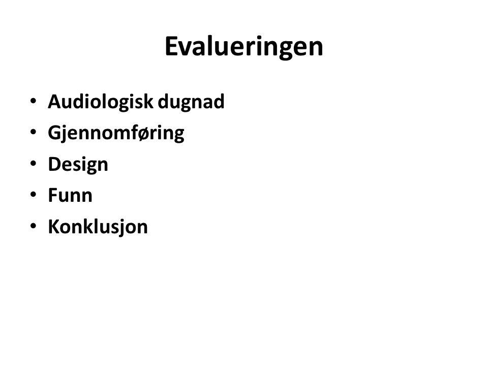 Evalueringen Audiologisk dugnad Gjennomføring Design Funn Konklusjon