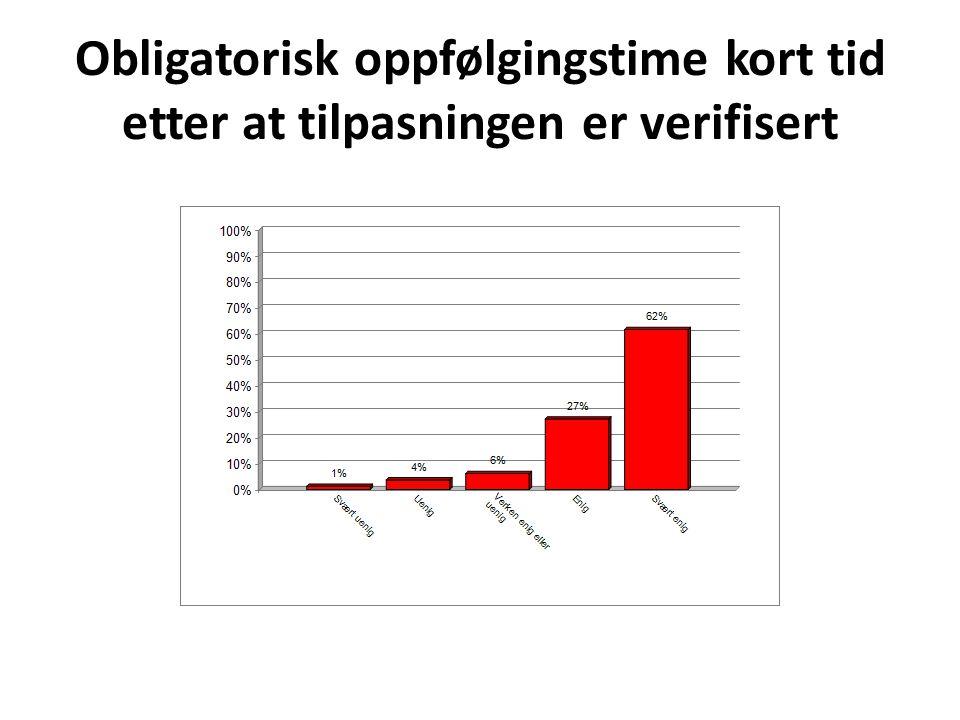 Obligatorisk oppfølgingstime kort tid etter at tilpasningen er verifisert