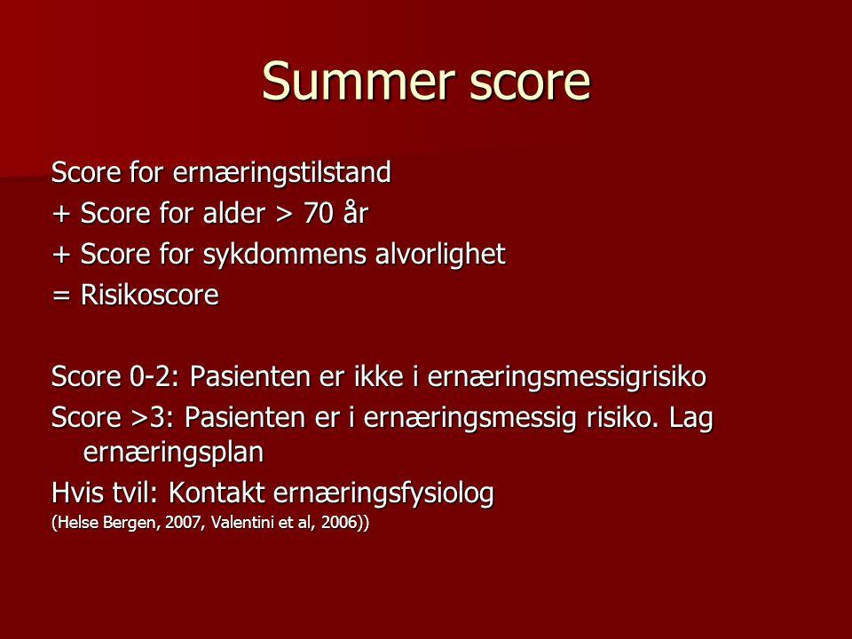 Summer score Score for ernæringstilstand + Score for alder > 70 år