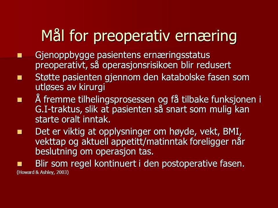 Mål for preoperativ ernæring