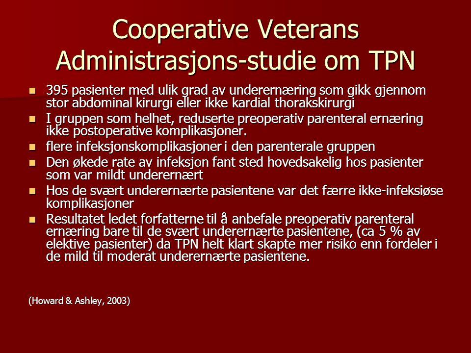 Cooperative Veterans Administrasjons-studie om TPN