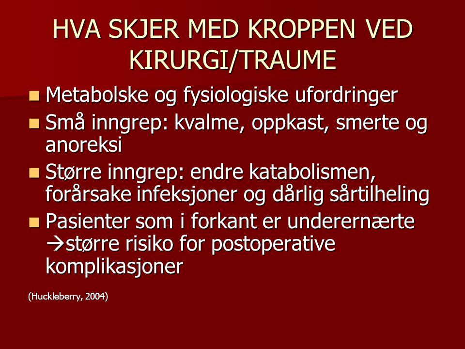 HVA SKJER MED KROPPEN VED KIRURGI/TRAUME