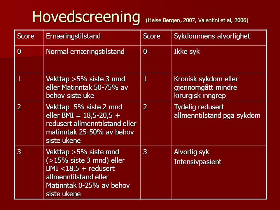 Hovedscreening (Helse Bergen, 2007, Valentini et al, 2006)