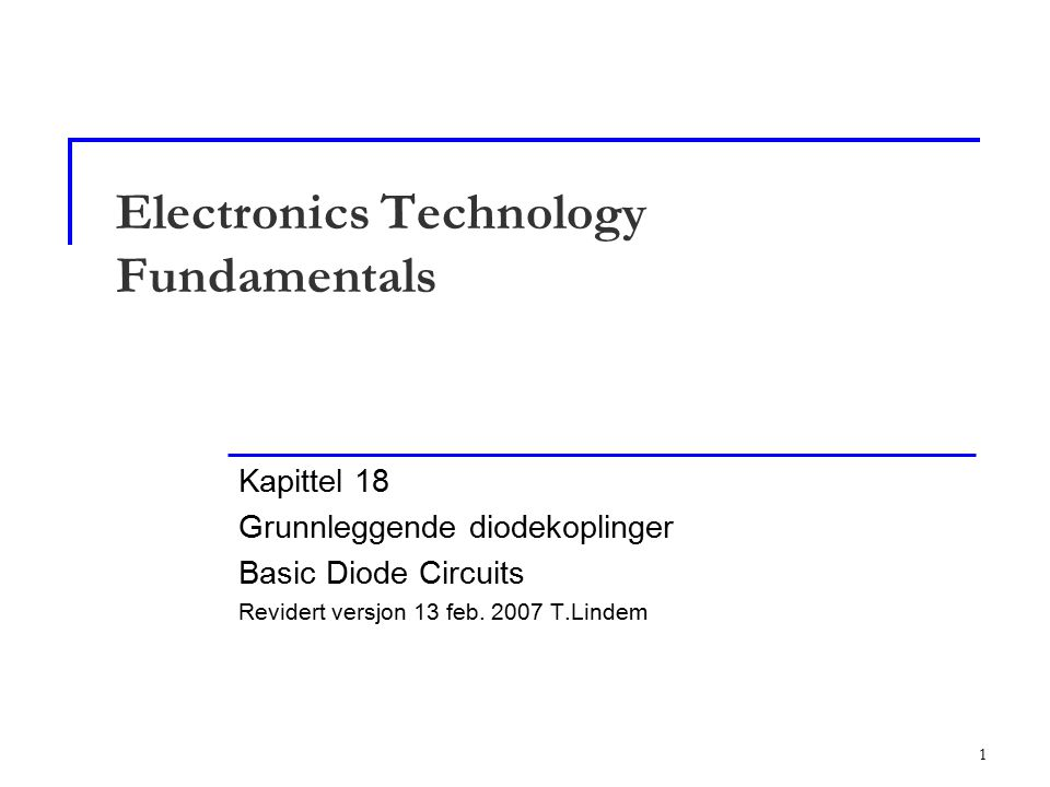 Electronics Technology Fundamentals