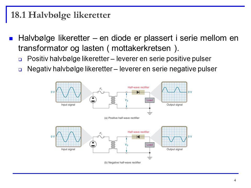 18.1 Halvbølge likeretter Halvbølge likeretter – en diode er plassert i serie mellom en transformator og lasten ( mottakerkretsen ).