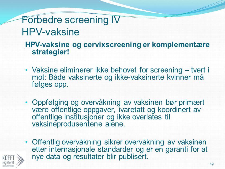 Forbedre screening IV HPV-vaksine