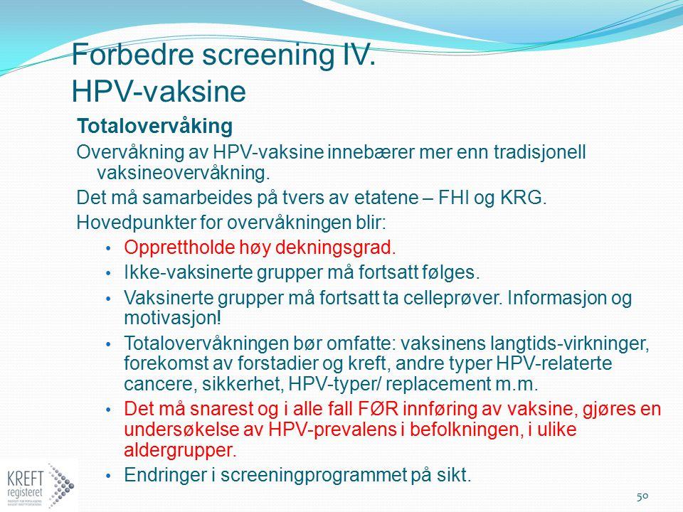 Forbedre screening IV. HPV-vaksine