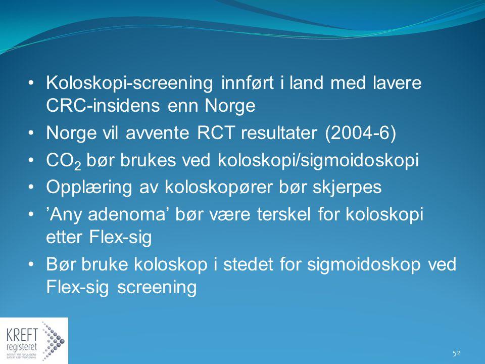 Koloskopi-screening innført i land med lavere CRC-insidens enn Norge