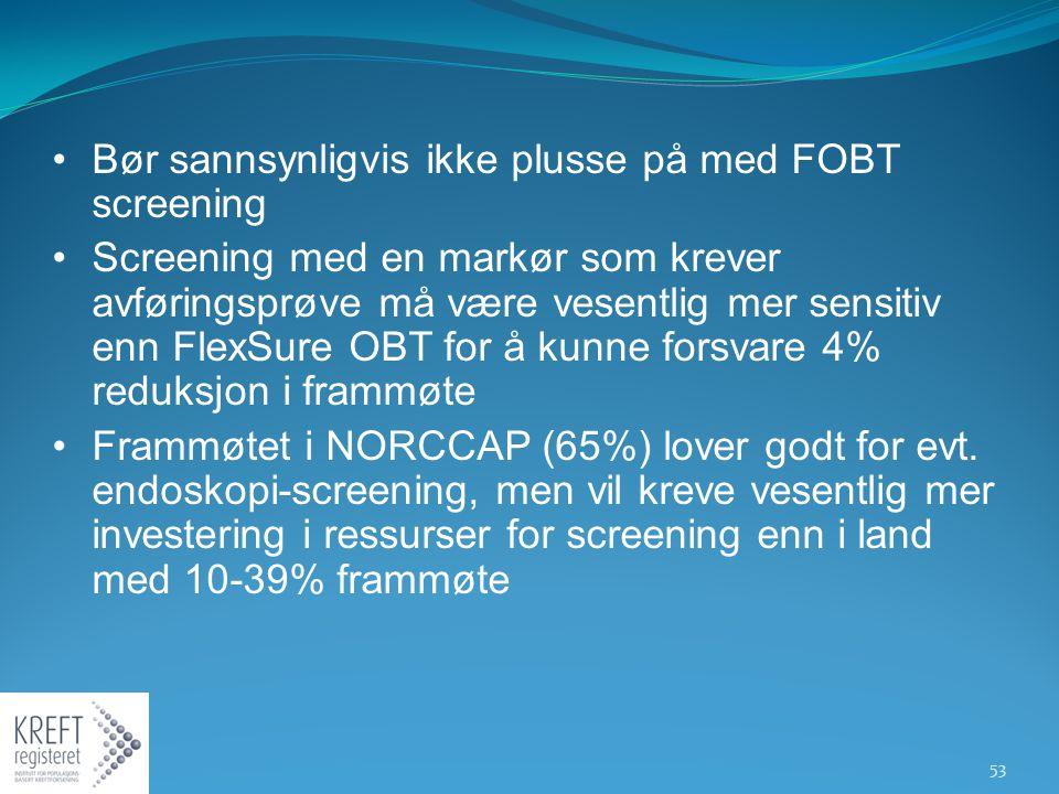 Bør sannsynligvis ikke plusse på med FOBT screening