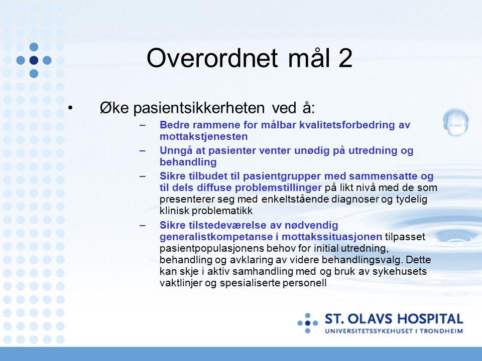 Overordnet mål 2 Øke pasientsikkerheten ved å: