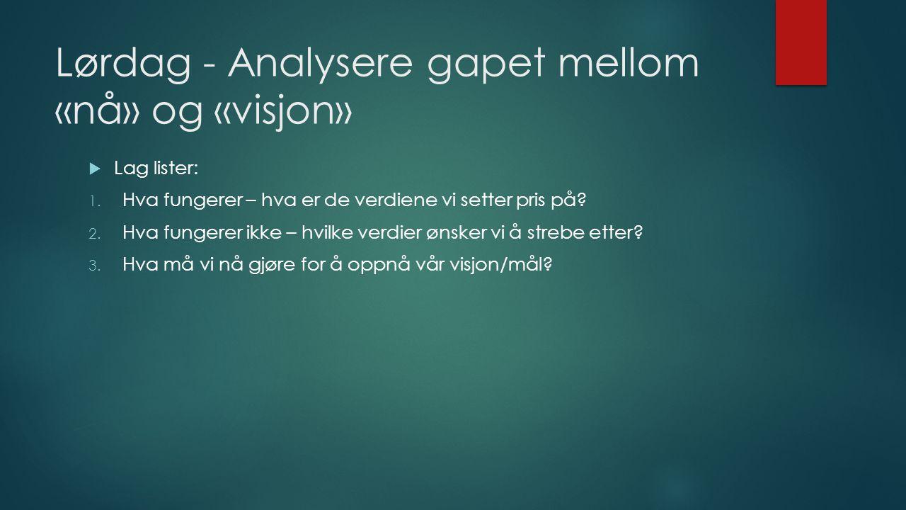 Lørdag - Analysere gapet mellom «nå» og «visjon»