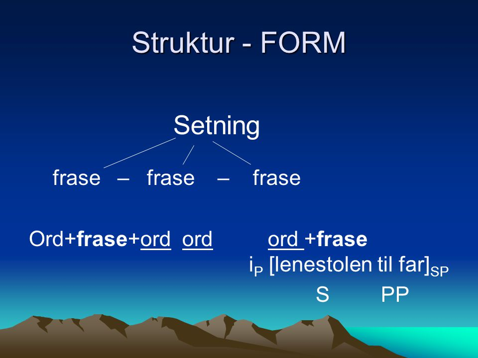 Struktur - FORM Setning frase – frase – frase