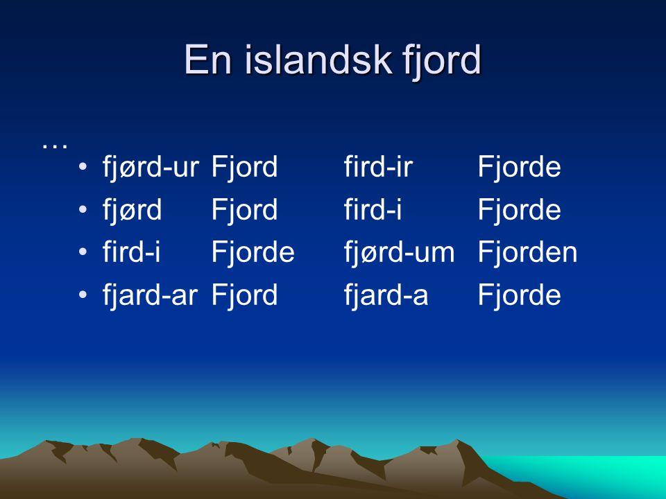 En islandsk fjord … fjørd-ur Fjord fird-ir Fjorde
