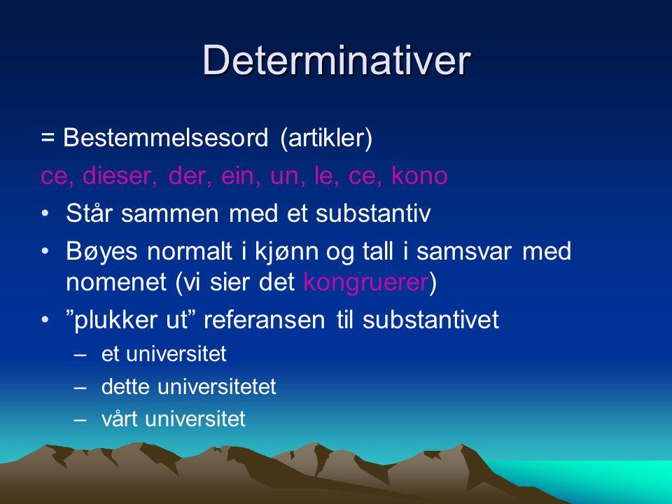 Determinativer = Bestemmelsesord (artikler)