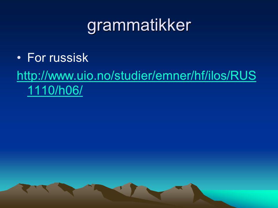 grammatikker For russisk