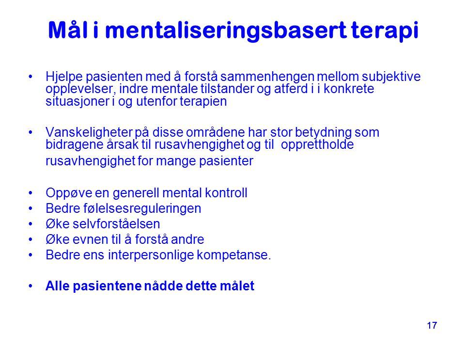 Mål i mentaliseringsbasert terapi