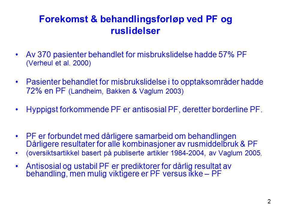 Forekomst & behandlingsforløp ved PF og ruslidelser