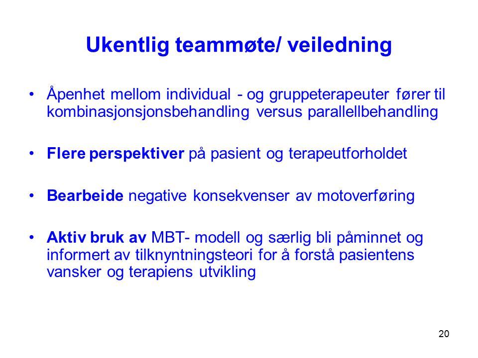 Ukentlig teammøte/ veiledning