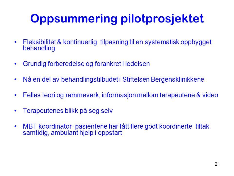 Oppsummering pilotprosjektet