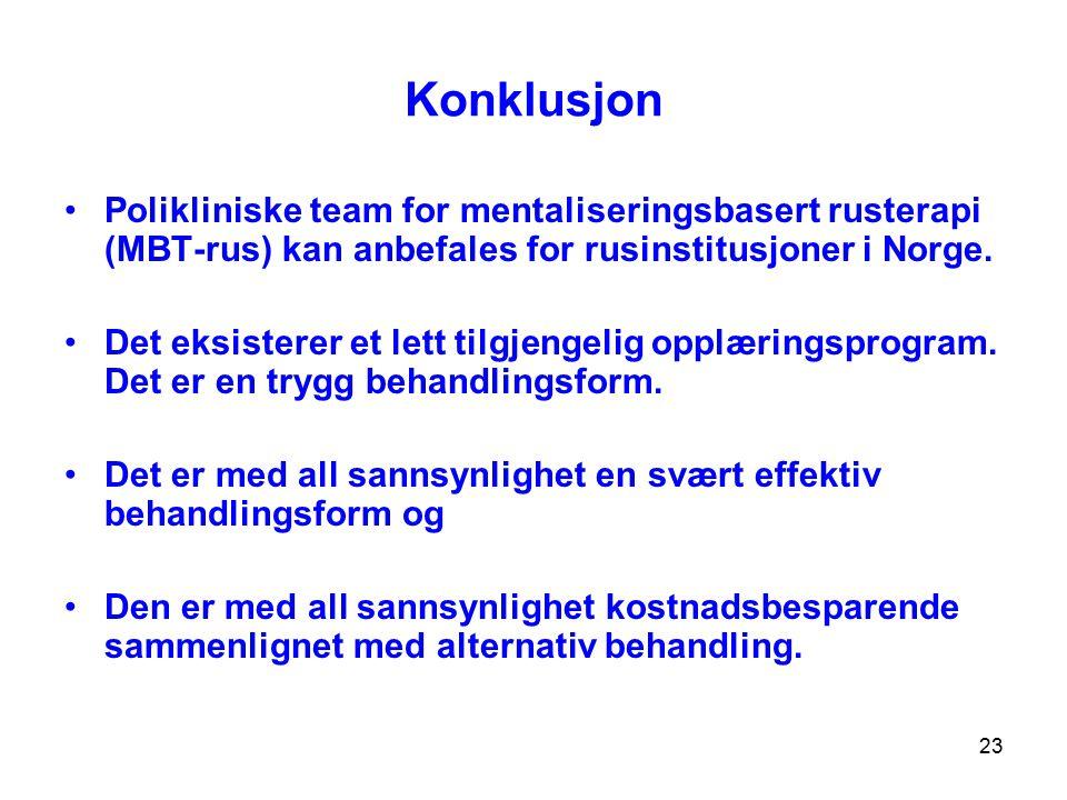 Konklusjon Polikliniske team for mentaliseringsbasert rusterapi (MBT-rus) kan anbefales for rusinstitusjoner i Norge.