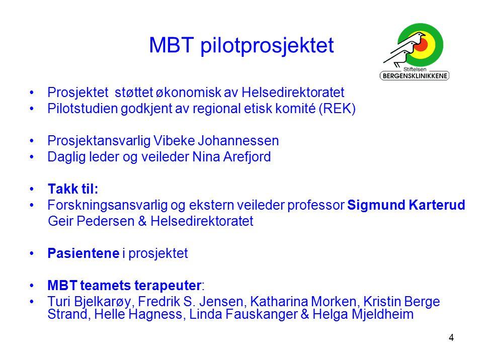 MBT pilotprosjektet Prosjektet støttet økonomisk av Helsedirektoratet