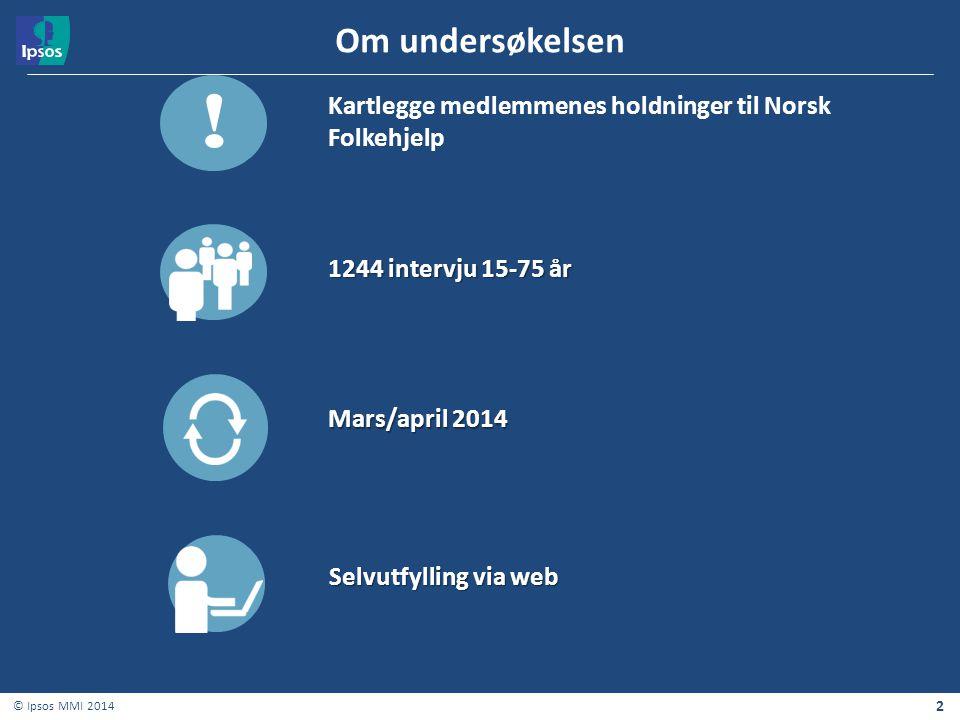 Om undersøkelsen ! Kartlegge medlemmenes holdninger til Norsk Folkehjelp. 1244 intervju 15-75 år.