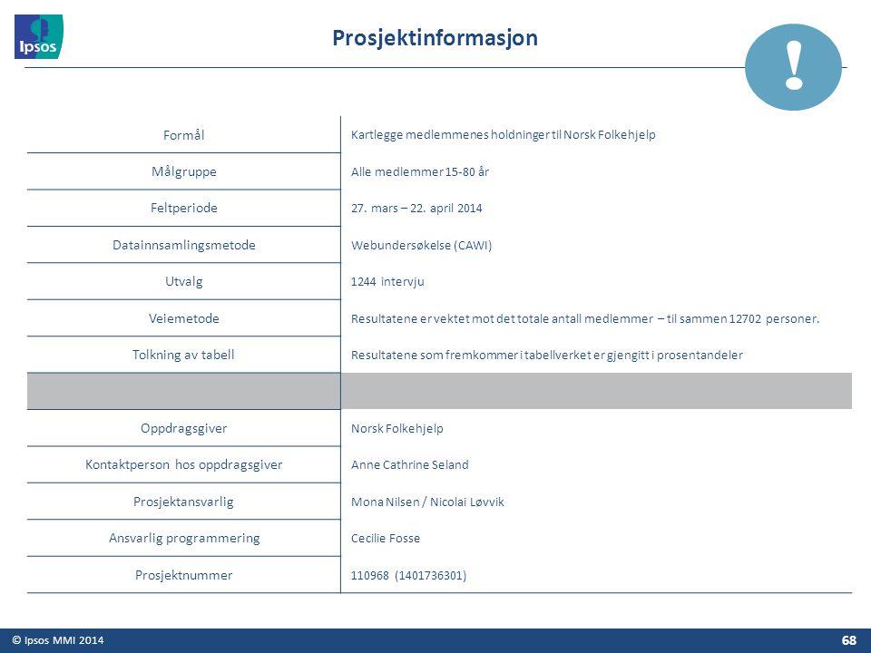 ! Prosjektinformasjon Formål Målgruppe Feltperiode