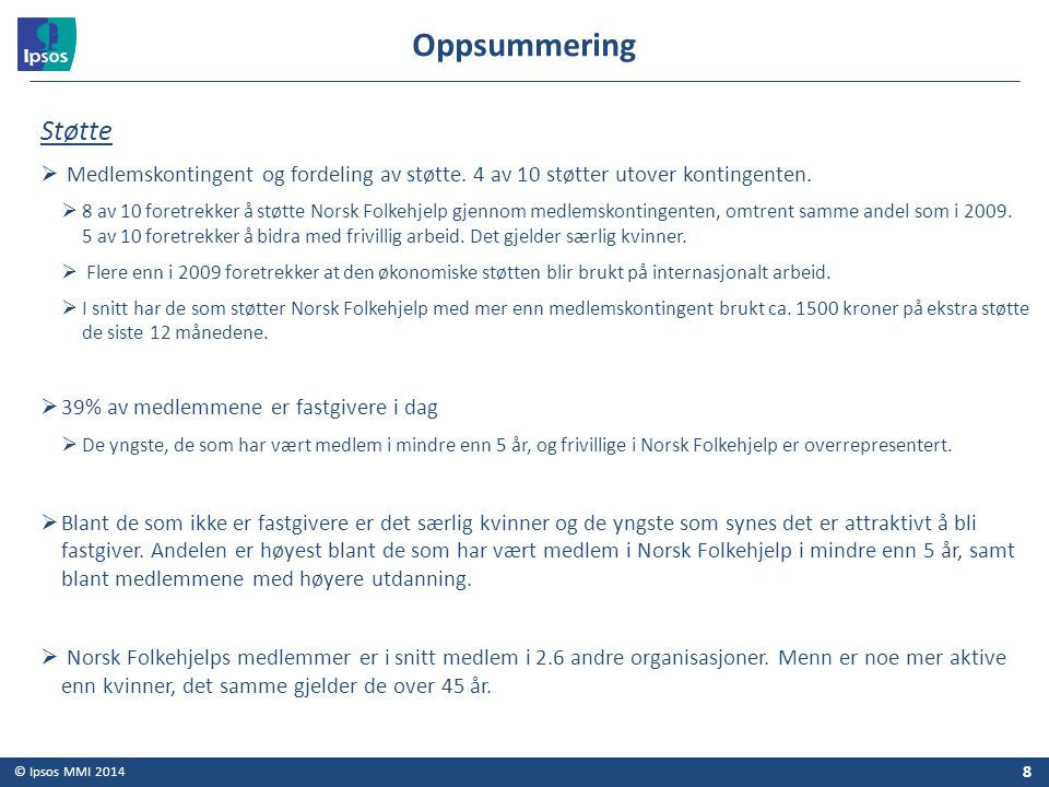 Oppsummering Støtte. Medlemskontingent og fordeling av støtte. 4 av 10 støtter utover kontingenten.