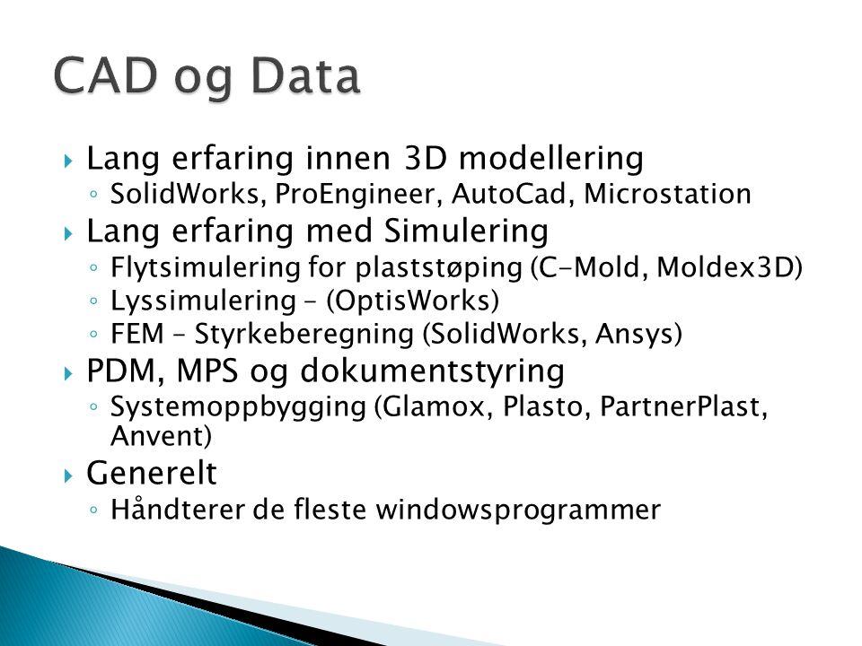 CAD og Data Lang erfaring innen 3D modellering