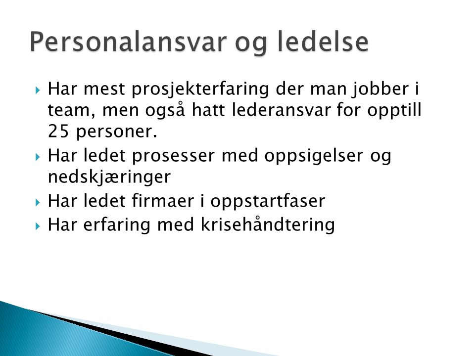 Personalansvar og ledelse
