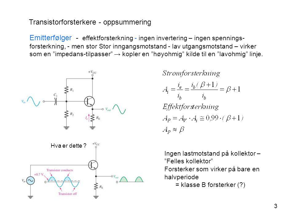 Transistorforsterkere - oppsummering