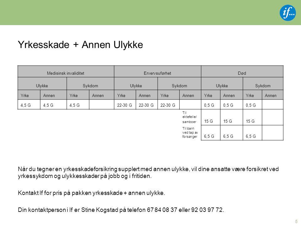 Yrkesskade + Annen Ulykke