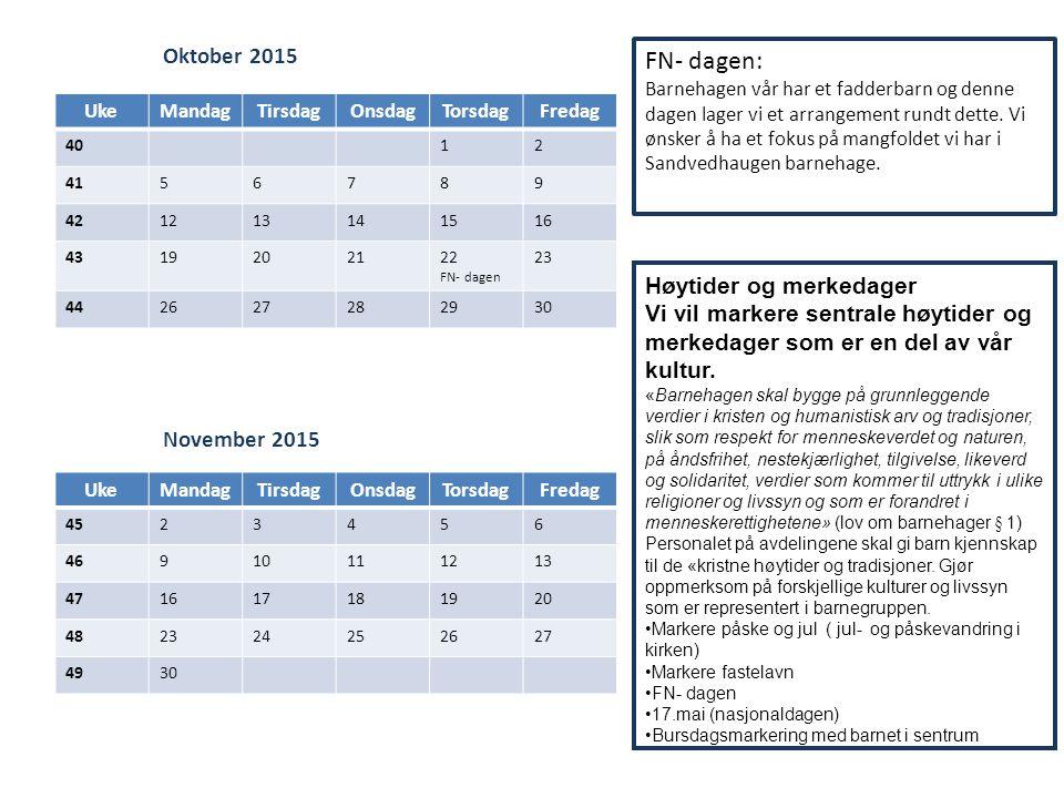 FN- dagen: Oktober 2015 Høytider og merkedager