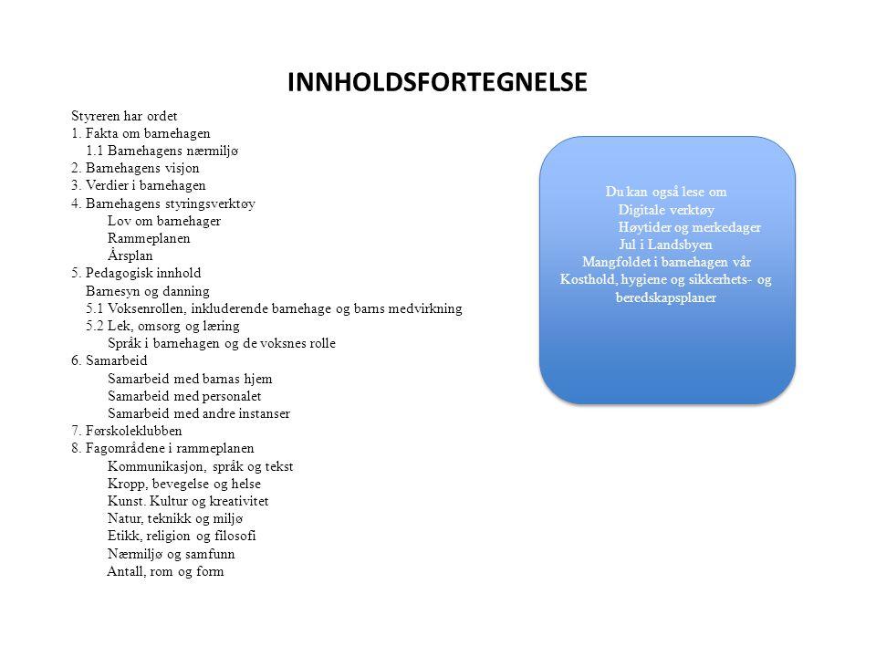 INNHOLDSFORTEGNELSE