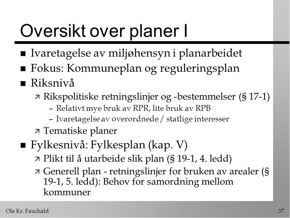 Oversikt over planer I Ivaretagelse av miljøhensyn i planarbeidet