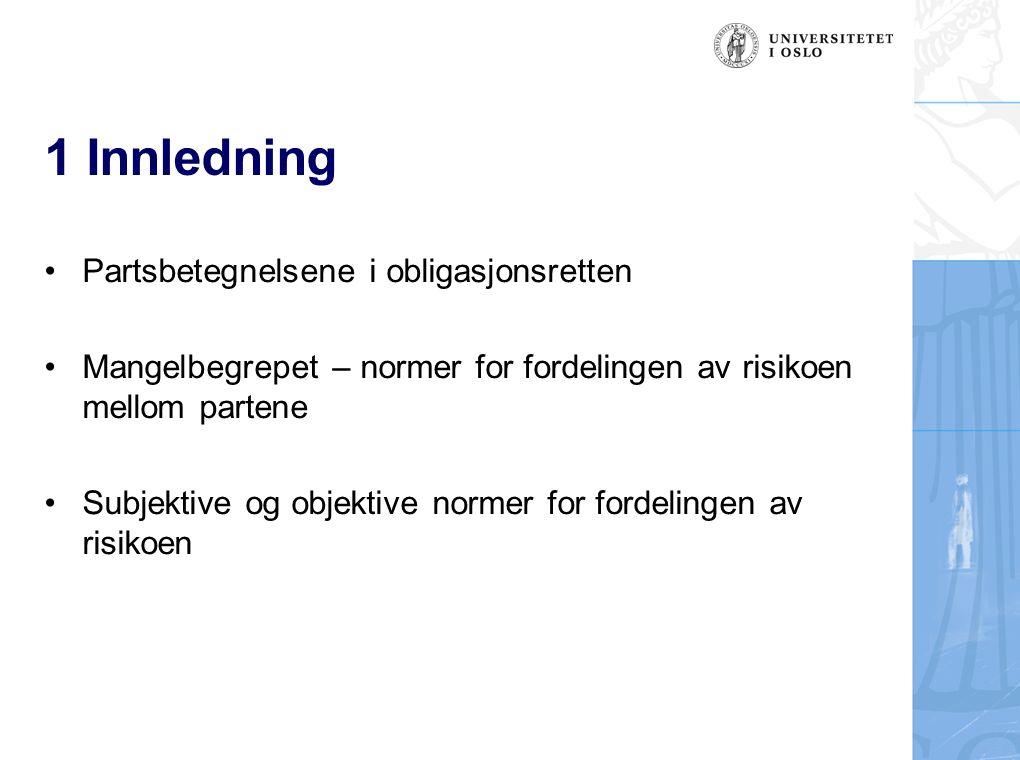 1 Innledning Partsbetegnelsene i obligasjonsretten