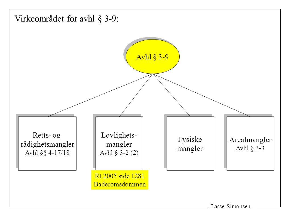 Virkeområdet for avhl § 3-9: