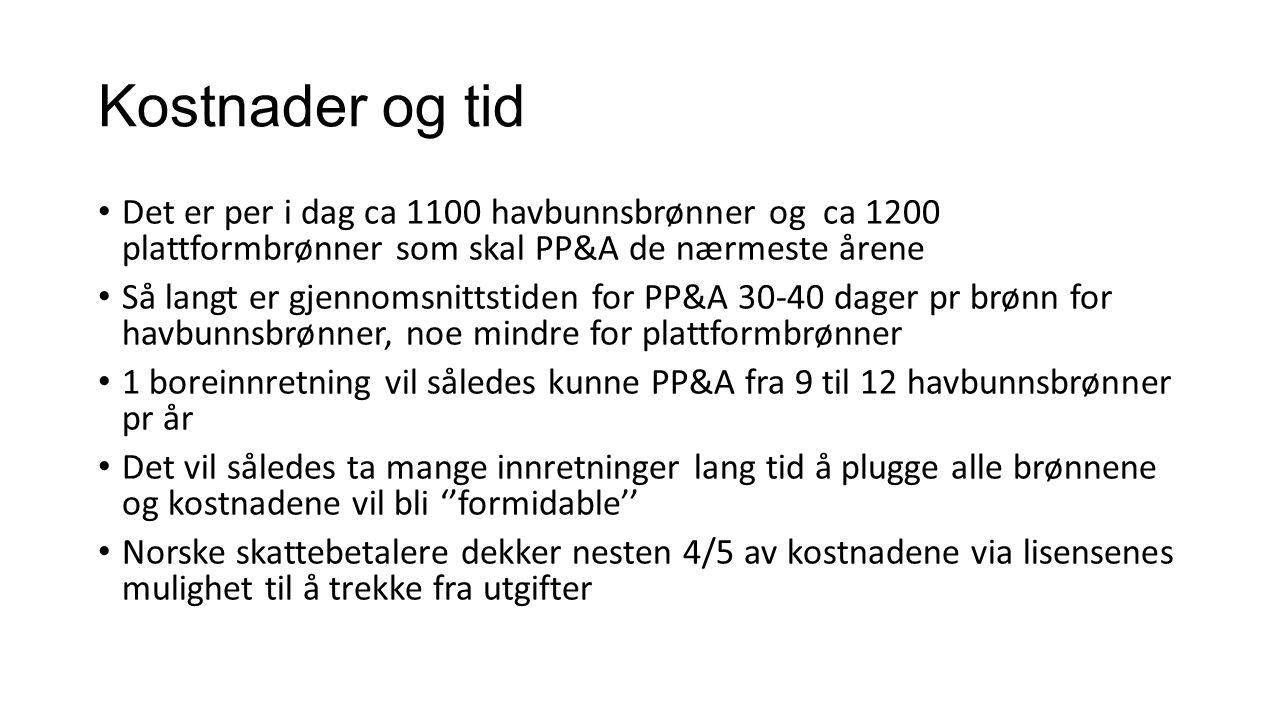 Kostnader og tid Det er per i dag ca 1100 havbunnsbrønner og ca 1200 plattformbrønner som skal PP&A de nærmeste årene.