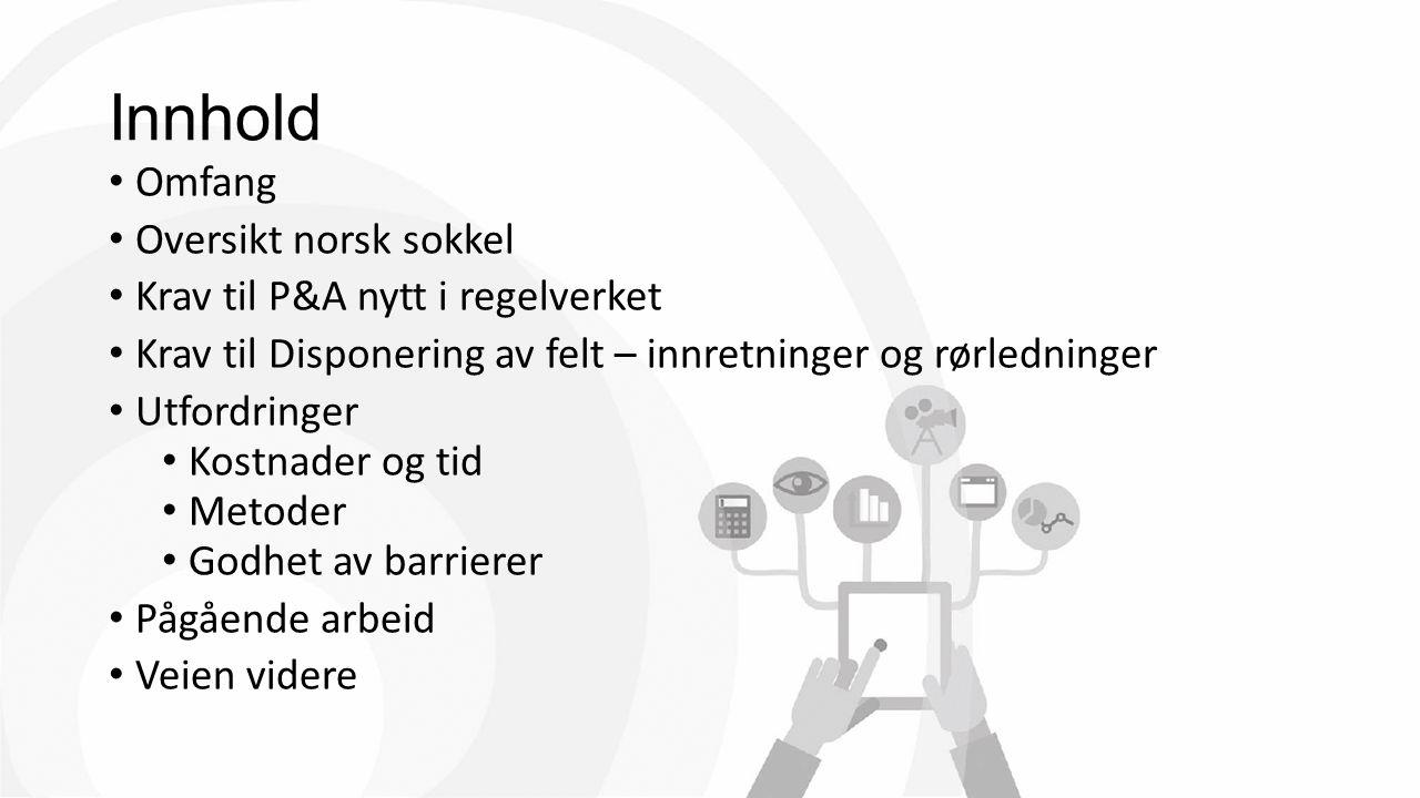Innhold Omfang Oversikt norsk sokkel Krav til P&A nytt i regelverket