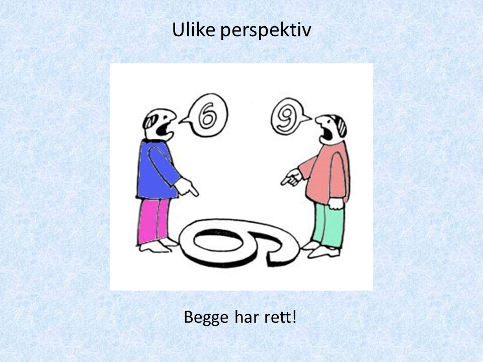 Ulike perspektiv Begge har rett!