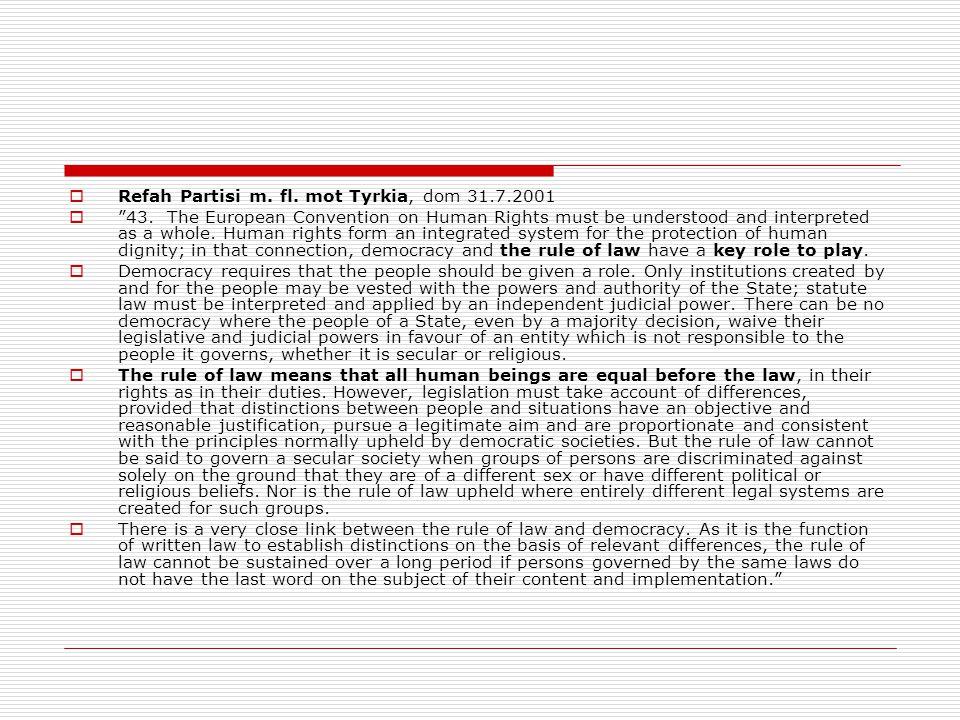 Refah Partisi m. fl. mot Tyrkia, dom 31.7.2001