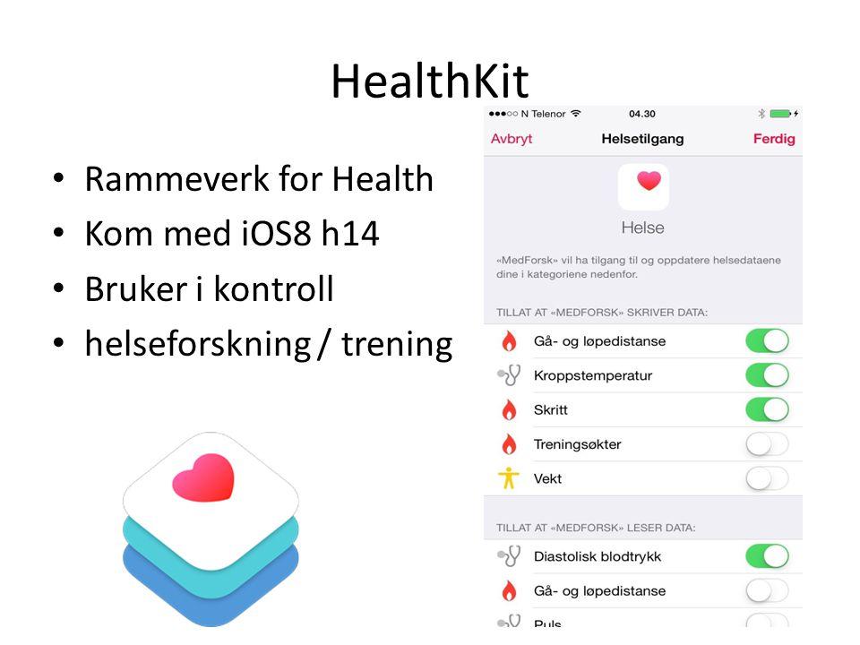 HealthKit Rammeverk for Health Kom med iOS8 h14 Bruker i kontroll