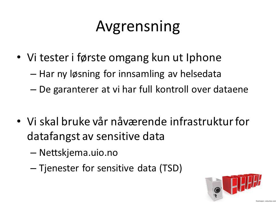 Avgrensning Vi tester i første omgang kun ut Iphone