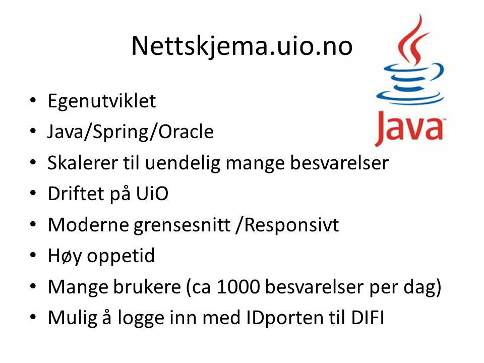 Nettskjema.uio.no Egenutviklet Java/Spring/Oracle