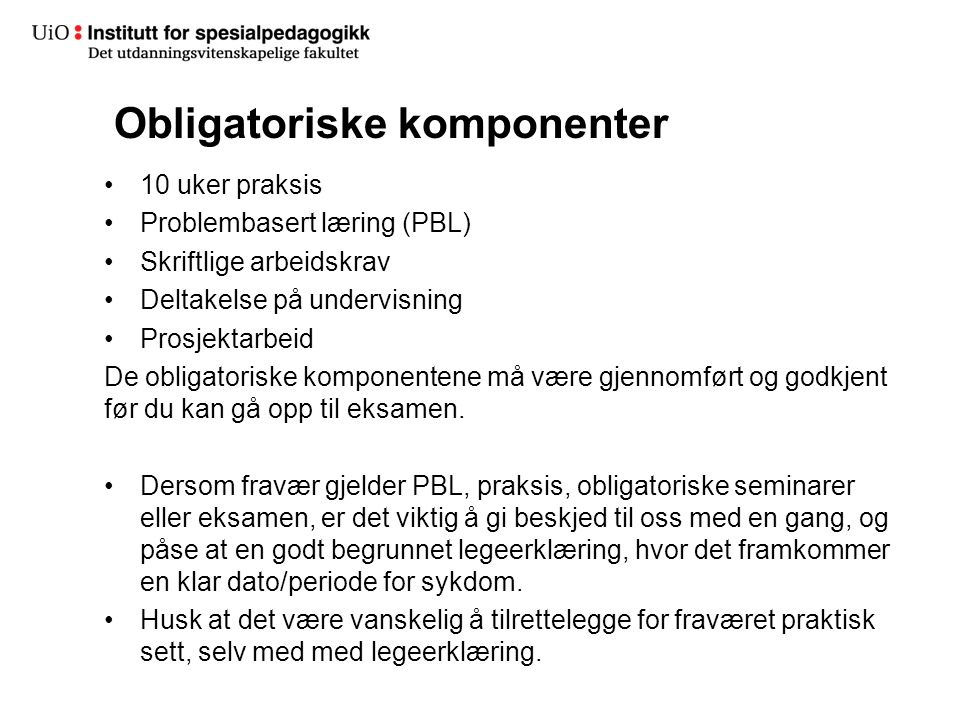 Obligatoriske komponenter