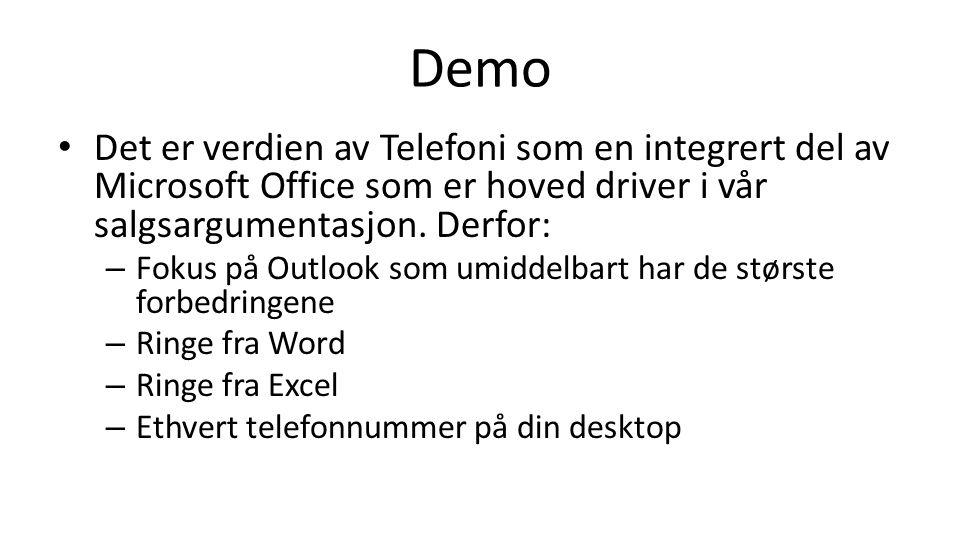 Demo Det er verdien av Telefoni som en integrert del av Microsoft Office som er hoved driver i vår salgsargumentasjon. Derfor: