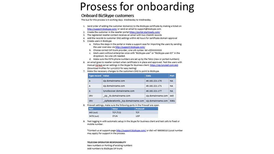 Prosess for onboarding