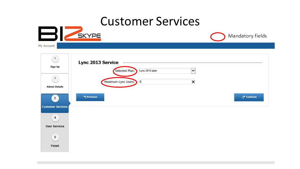 Customer Services Mandatory fields