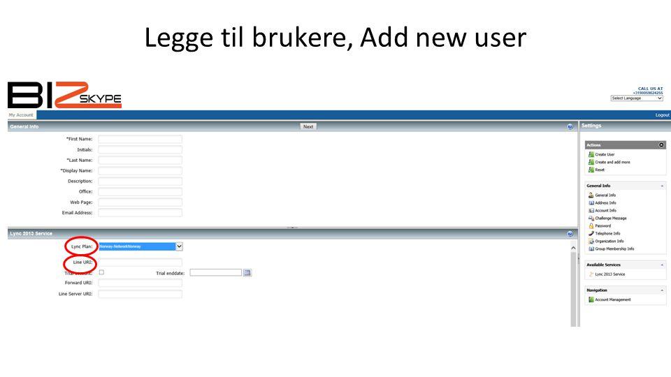 Legge til brukere, Add new user