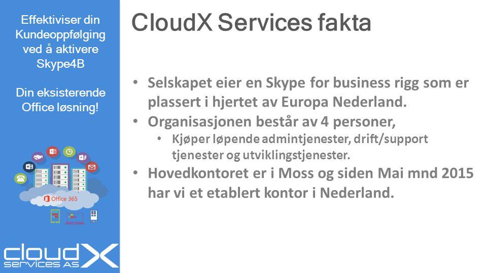 CloudX Services fakta Effektiviser din. Kundeoppfølging ved å aktivere. Skype4B. Din eksisterende Office løsning!